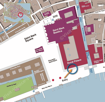 Location Map Doge's Palace Museum in Venice Italy