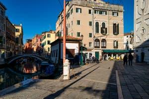 Mondo Novo Canal and Bridge near Santa Maria Formosa's Square in Venice in Italy