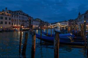 Gondolas on Venice's Grand Canal with the Rialto Bridge
