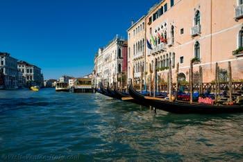 Gondolas on Venice's Grand Canal near Santa Sofia Traghetto in Cannaregio District.