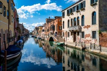 Sensa Fondamenta Bank and Canal and the Rosso Bridge in the Cannaregio District in Venice.