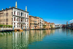 The Venice Grand Canal while the Coronavirus Covid-19 Lockdown in Venice in spring 2020