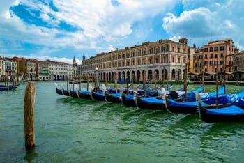 Gondolas Venedig Canal Grande Während der Ausgangsbeschränkungen im Zusammenhang mit der Coronavirus-Pandemie Venedig