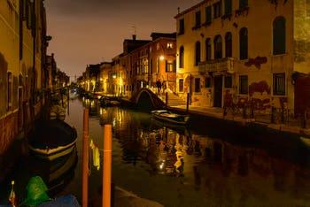 Venice by Night in November, the Sensa Canal and the Brazzo Bridge in the Cannaregio District.