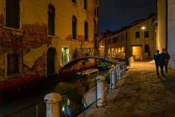 Venice by Night in November, the Madalena Square and the Sotoportego delle Colonete in the Cannaregio District.