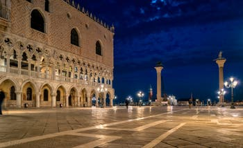 Venice by Night, the Doge's Palace and the Piazzetta San Marco.