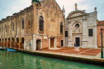 The Abazia Square with the Scuola Vecchia della Misericordia and the Santa Maria Valverde Church, in the Cannaregio District in Venice.
