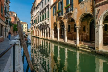 The San Felice Canal and Bank and the Tagiapiera Sotoportegho in the Cannaregio District in Venice.