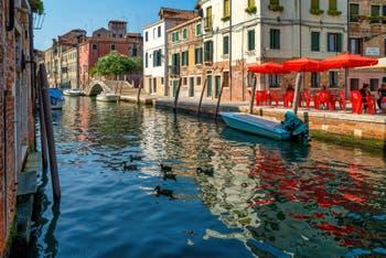 The Sensa Canal in front of the dei Mori Campo Square and the Brazzo Bridge, in the Cannaregio District in Venice.