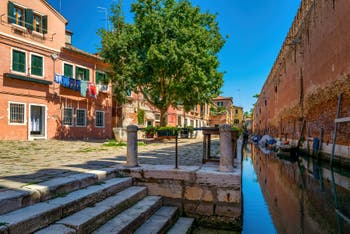 The Gorne Campo Square and Canal along the Venice Arsenal in the Castello District.