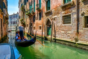 Gondola on the San Severo Canal, in the Castello District in Venice.