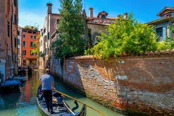 Gondolas on the San Severo Canal, in the Castello District in Venice.