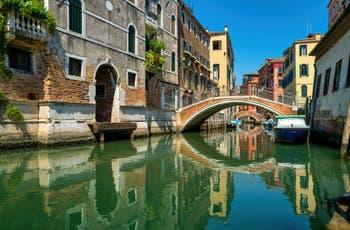 The Mondo Novo Canal and Bridge, in the Castello District in Venice.