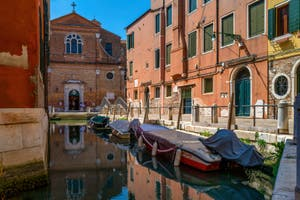 The Gorne Canal and the San Martino Church in the Castello District in Venice.
