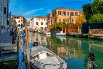 The San Lorenzo Canal and Bridge, in the Castello District in Venice.