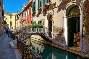 The San Zaninovo Canal along the Fondamenta del Remedio Bank, in the Castello District in Venice.