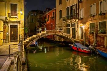 Venetian Night: the Chiodo Bridge in the Cannaregio District in Venice.