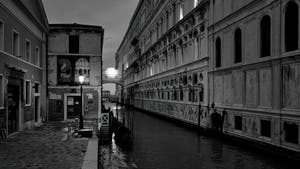The Doge's Palace and the Bridge of Sighs in Venice by Night.