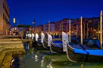 Gondolas along the Riva del Vin Bank in Venice.