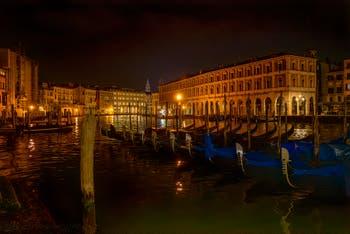 Venice Nights: Gondolas on Venice Grand Canal in front of the Fabbriche Nove.