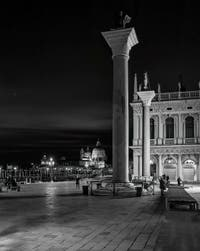The Piazzetta San Marco Columns and the Salute Church in Venice.