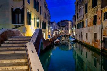The Preti Bridge and the Mondo Novo Canal in the Castello District in Venice.