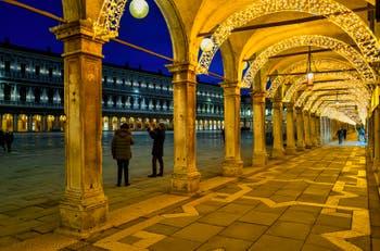 The Procuratie Vecchie Christmas illuminations and Saint-Mark Square in Venice.