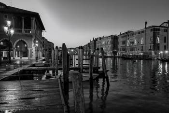 The Rialto Market and Venice Grand Canal by night.