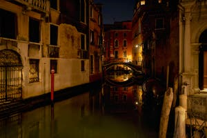 The San Zulian Canal reflections and the Balbi Bridge in Venice.