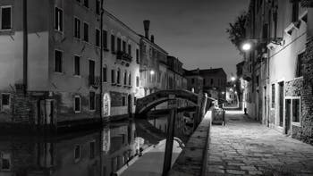 The Santa Caterina Bridge, Canal and Bank, in the Cannaregio District.