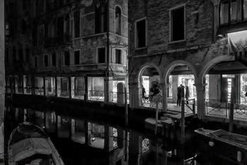 The Santi Apostoli Canal reflections and the del Magazen and Fallier Sotoporteghi in the Cannaregio District in Venice.