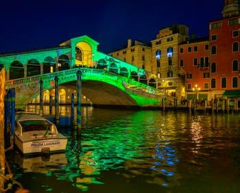 The Rialto Bridge Christmas illuminations in Venice.