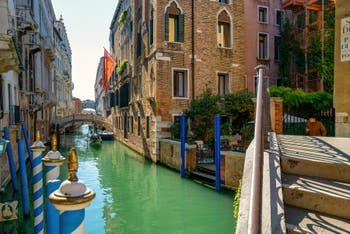 The Consorzi Bridge and the Bridge of Sighs on the Palazzo Canonica Canal, in the Saint-Mark District in Venice.