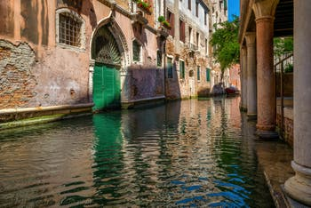 The Verona Canal and the Caotorta Palace in Saint-Mark District in Venice.