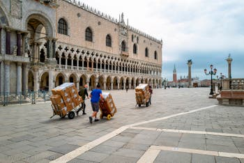 The Doge's Palace and the Piazzetta in Saint-Mark District in Venice.