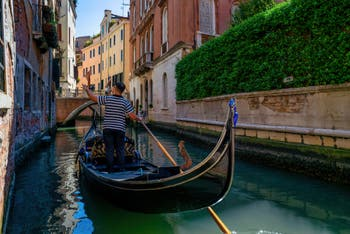Gondola on the Fuseri Canal in the Saint Mark District in Venice.