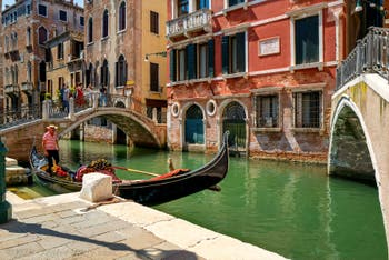 Gondola on the San Luca Rossini Canal in the Saint-Mark District in Venice.