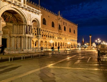 Venice by Night: The Saint-Mark Basilica and the Doge's Palace.