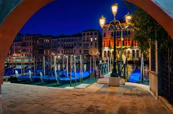 The Riva del Vin Traghetto Gondolas in the San Polo District in Venice.