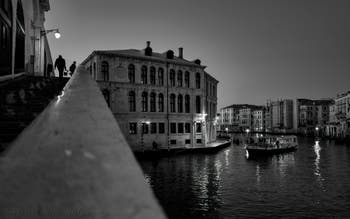 The Venice Grand Canal, the Rialto Bridge and the Carmerlenghi Palace.