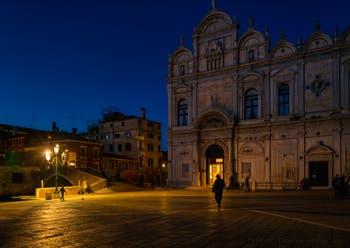 The San Giovanni e Paolo Square, the Cavallo Bridge and the Scuola Grande San Marco in the Castello District in Venice.