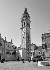 The Santa Maria Formosa Bell Tower and Campanile in the Castello District in Venice.