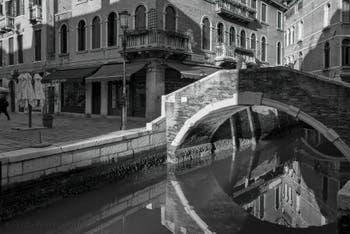 The Miracoli Canal and the Santa Maria Nova Bridge in the District of Cannaregio in Venice.