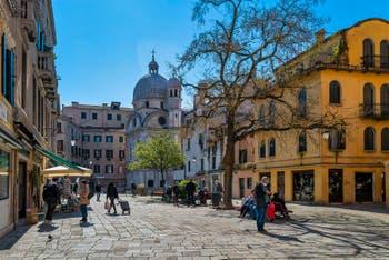 The Santa Maria Nova Square and the Miracoli Church in the Cannaregio District in Venice.