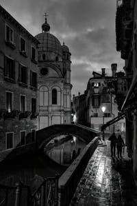 Venice timeless beauty, the Piovan Bank, the Santa Maria Nova Bridge and the Miracoli Church in the Cannaregio District.