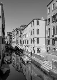 The Mondo Novo Canal and the dei Preti Bank in the Castello District in Venice.