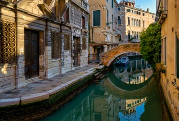 Perfect reflections in the Widmann Canal in the Cannaregio District in Venice.