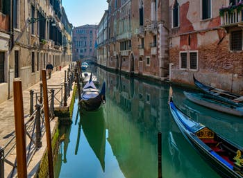The San Severo Bank and Canal in the Castello District in Venice.