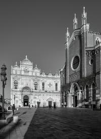 The Scuola Grande San Marco and the San Giovanni e Paolo Square and Basilica in the Castello District in Venice.