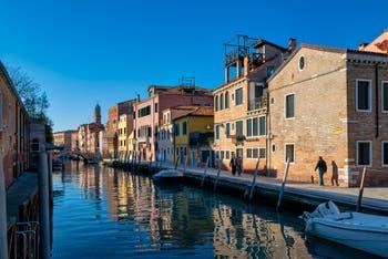 Bonlini Bank and Ognissanti Canal in the Dorsoduro District in Venice.
